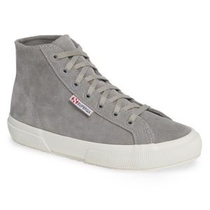 Superga High Top Grey Suede Sneaker
